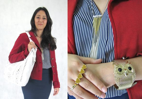 2-look-do-dia-navy-azul-listras-vermelho-branco-amarelo-blazer-agilita-zara-camisa-arezzo-sandalia-furla-brecho
