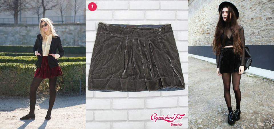 1-saia-veludo-velvet-curta-media-joelho-longa-fenda-look-dica-como-usar-brecho