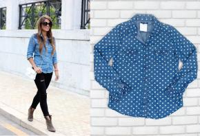 1-jeans-denim-poa-estampa-bolinhas-polka-dot-look-dica-como-usar-camisa-saia-jardineira-macacao-marca-preco-brecho