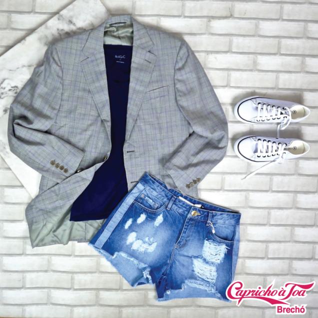 Blazer CANALI (48) R$20 | Camiseta BASIC (M) R$29 | ShortSIBERIAN (38) R$49 |Tênis CONVERSE (36) R$69