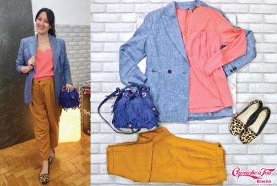 Blusa #Bobo (G) R$58,80   Blazer #LKBennett (M) R$199   Bolsa #Carmim R$199   Calça #Zara (G) R$49   Sapatilha #Capodarte (36) R$58,80